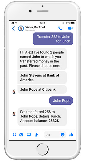 chatbot for banking transfer money