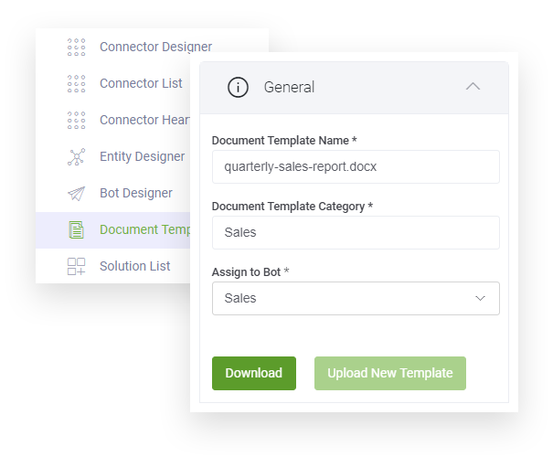 chatbot platform dynamic document templates